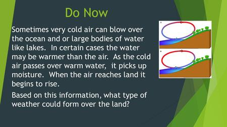 Do Now Sometimes very cold air can blow over the ocean and or large bodies of water like lakes. In certain cases the water may be warmer than the air.