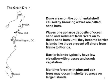 1 The Grain Drain Boston New York Washington, DC Miami Dune areas on the continental shelf caused by breaking waves are called sand bars. Waves pile up.