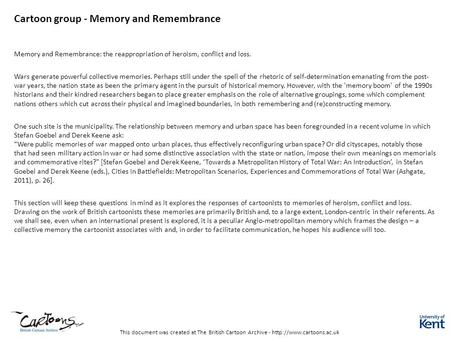 Cartoon group - Memory <strong>and</strong> Remembrance