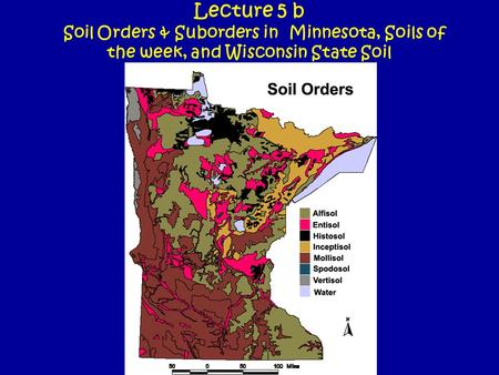 Lecture 5 b Soil Orders & Suborders in Minnesota, Soils of the week, and Wisconsin State Soil.