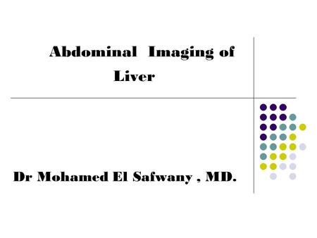 Abdominal Imaging of Liver