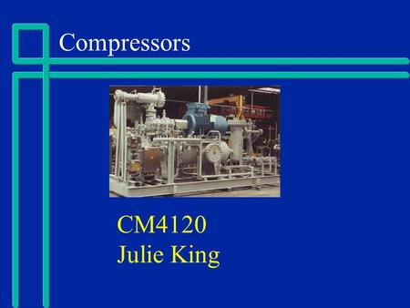 Compressors CM4120 Julie King. Presentation Outline Introduction Types Compressor System References.