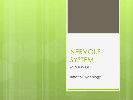 NERVOUS SYSTEM MCGONIGLE Intro to Psychology. Nervous System  Made up of the spinal cord and the brain  Neurons : Nerve cell – the neurons transmit.