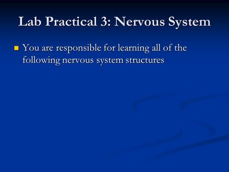 Lab Practical 3: Nervous System You are responsible for learning all of the following nervous system structures You are responsible for learning all of.