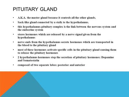 PITUITARY GLAND A.K.A. the master gland because it controls all the other glands. Sack-like gland connected by a stalk to the hypothalamus. this hypothalamus-pituitary.