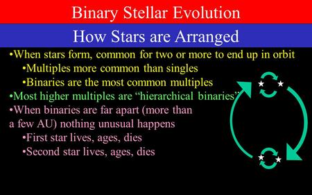 Binary Stellar Evolution How Stars are Arranged When stars form, common for two or more to end up in orbit Multiples more common than singles Binaries.