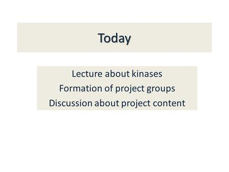 Today Lecture about kinases Formation of project groups Discussion about project content.