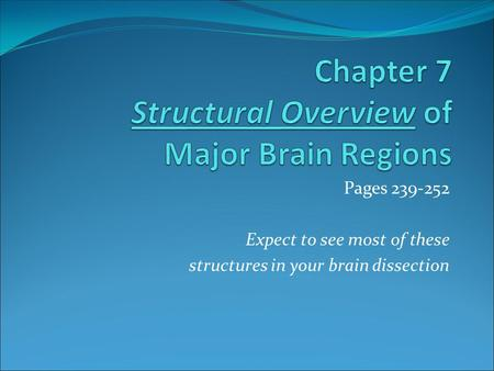 Pages 239-252 Expect to see most of these structures in your brain dissection.