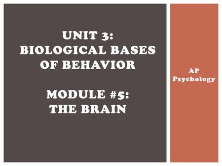 Unit 3: Biological Bases of Behavior Module #5: The Brain