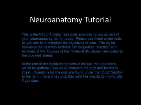Neuroanatomy Tutorial This is the first of 3 digital resources provided to you as part of your Neuroanatomy lab for today. Please use these online tools.