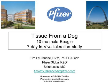 Tissue From a Dog 10 mo male Beagle 7-day In-Vivo toleration study Tim LaBranche, DVM, PhD, DACVP Pfizer Global R&D Saint Louis, MO