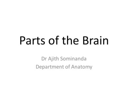 Parts of the Brain Dr Ajith Sominanda Department of Anatomy.