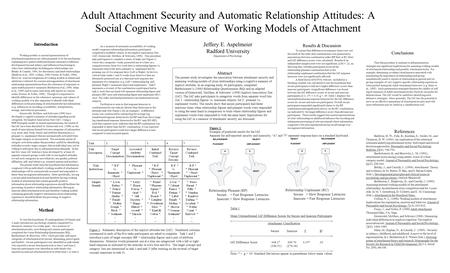 Adult Attachment Security and Automatic Relationship Attitudes: A Social Cognitive Measure of Working Models of Attachment Jeffery E. Aspelmeier Radford.