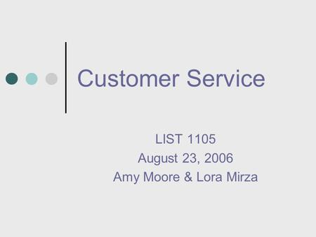 Customer Service LIST 1105 August 23, 2006 Amy Moore & Lora Mirza.