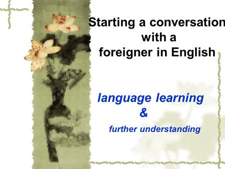 Starting a conversation with a foreigner in English language learning & further understanding.