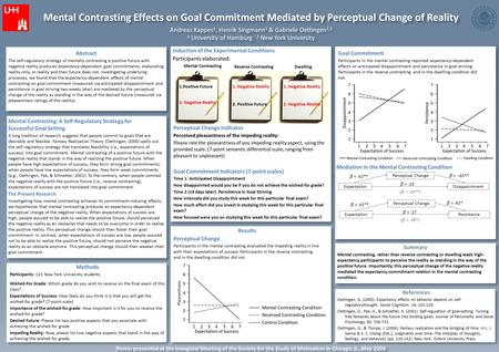 Mental Contrasting Effects on Goal Commitment Mediated by Perceptual Change of Reality Andreas Kappes 1, Henrik Singmann 1 & Gabriele Oettingen 1,2 1 University.