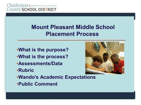 Mount Pleasant Middle School Placement Process What is the purpose? What is the process? Assessments/Data Rubric Wando's Academic Expectations Public Comment.