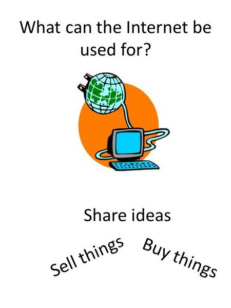 What can the Internet be used for? Buy things Share ideas Sell things.