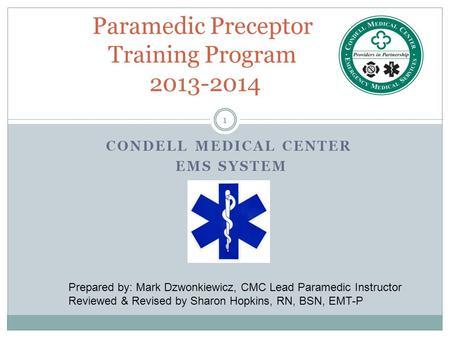 Paramedic Preceptor Training Program