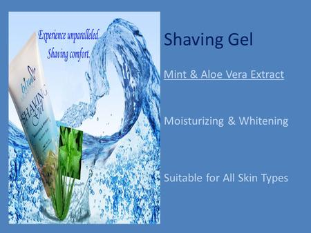 Shaving Gel Moisturizing & Whitening Suitable for All Skin Types Mint & Aloe Vera Extract.