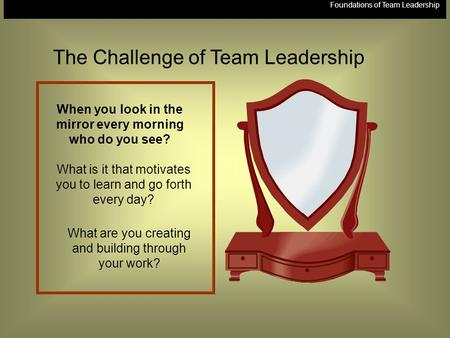 Foundations of Team Leadership When you look in the mirror every morning who do you see? What is it that motivates you to learn and go forth every day?