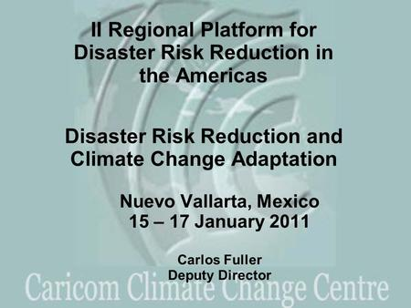Nuevo Vallarta, Mexico 15 – 17 January 2011 Carlos Fuller Deputy Director II Regional Platform for Disaster Risk Reduction in the Americas Disaster Risk.