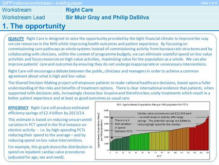 QIPP national workstream – briefing paper Slide 1 of 4 WorkstreamRight Care Workstream LeadSir Muir Gray and Philip DaSilva 1. The opportunity QUALITY.
