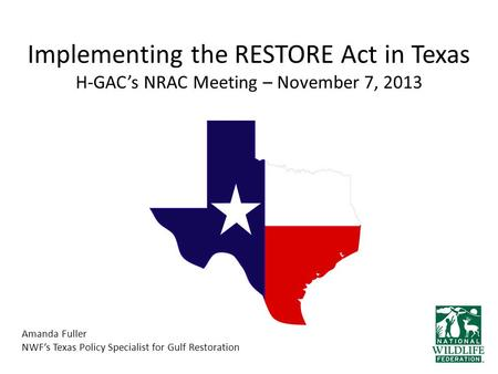 Implementing the RESTORE Act in Texas H-GAC's NRAC Meeting – November 7, 2013 Amanda Fuller NWF's Texas Policy Specialist for Gulf Restoration.