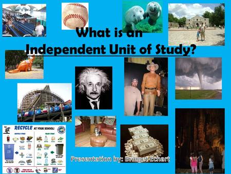What is an Independent Unit of Study?. The dictionary definition: a research project carried out by yourself or with others. This project is carefully.
