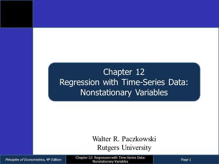 Regression with Time-Series Data: Nonstationary Variables