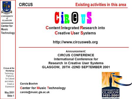 Center for Music Technology Circus at the Workshop Technology Platforms for Cultural and Artistic Creative Expression May 2001 Slide 1 C ontent I ntegrated.