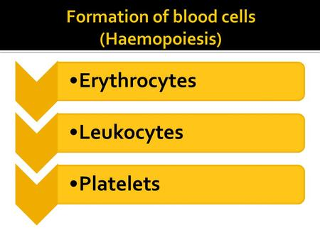 ErythrocytesLeukocytesPlatelets. Where blood is made?  Haemopoietic cells first appear in the yolk sac of the 2-week embryo.  By 8 weeks, blood making.