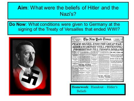 Do Now: What conditions were given to Germany at the signing of the Treaty of Versailles that ended WWI? Aim: What were the beliefs of Hitler and the Nazi's?