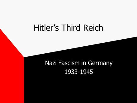 Hitler's Third Reich Nazi Fascism in Germany 1933-1945.