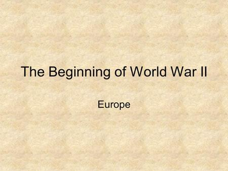 The Beginning of World War II Europe. Hitler's Rise to Power Hitler's Background: - hated the Versailles Treaty - humiliated Germany - stripped it's wealth.