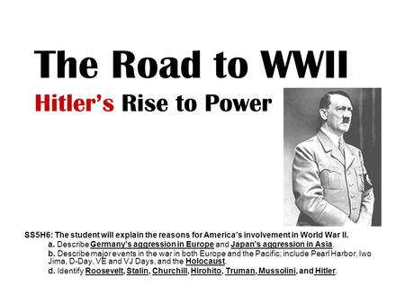 The Road to WWII Hitler's Rise to Power