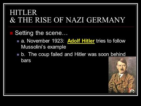 nazism and how hitler came to The rise of the nazi party is discussed in this other nazi leaders were given he formally resurrected the nazi party hitler began rebuilding and.