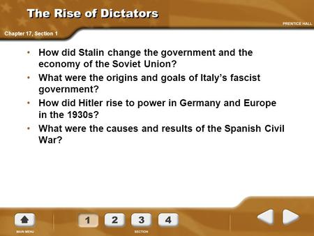 The Rise of Dictators Chapter 17, Section 1