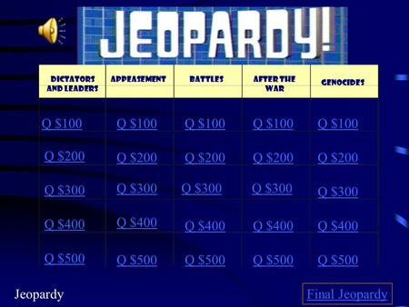 Dictators and Leaders Q $100 Q $200 Q $300 Q $400 Q $500 Q $100 Q $200 Q $300 Q $400 Q $500 Final Jeopardy AppeasementBattlesAfter the War Genocides Jeopardy.