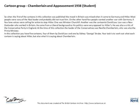 This document was created at The British Cartoon Archive -  Cartoon group - Chamberlain and Appeasement 1938 (Student) So when.