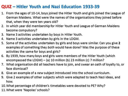 QUIZ – Hitler Youth and Nazi Education