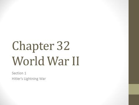 Section 1 Hitler's Lightning War