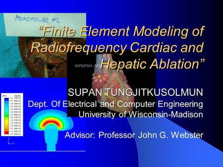 """Finite Element Modeling of Radiofrequency Cardiac and Hepatic Ablation"" SUPAN TUNGJITKUSOLMUN ""Finite Element Modeling of Radiofrequency Cardiac and."