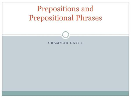 GRAMMAR UNIT 1 Prepositions and Prepositional Phrases.