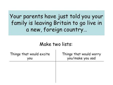 Your parents have just told you your family is leaving Britain to go live in a new, foreign country… Make two lists: Things that would excite you Things.