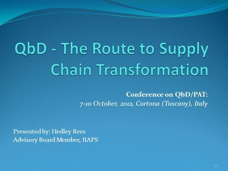 Conference on QbD/PAT: 7-10 October, 2012, Cortona (Tuscany), Italy Presented by: Hedley Rees Advisory Board Member, IIAPS 1.