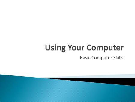 Using Your Computer Basic Computer Skills.