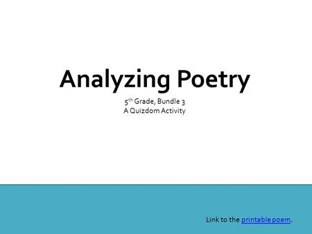 analyzing poetry Questions for analyzing poetry (from the elements of writing about literature and film by elizabeth mc mahan, robert funk and susan day longman publishing, 1998.