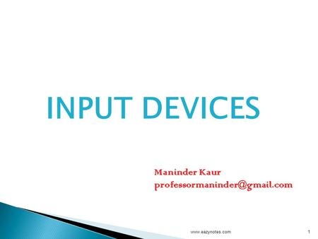 INPUT DEVICES 1www.eazynotes.com Maninder Kaur