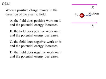 Q23.1 When a positive charge moves in the direction of the electric field, Motion +q A. the field does positive work on it and the potential energy increases.